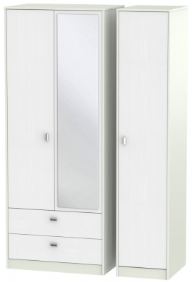Dubai Rustic White and Kaschmir Matt 3 Door 2 Left Drawer Tall Mirror Triple Wardrobe