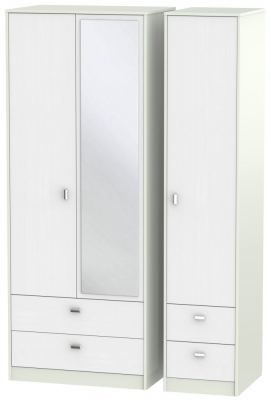 Dubai Rustic White and Kaschmir Matt 3 Door 4 Drawer Tall Mirror Triple Wardrobe