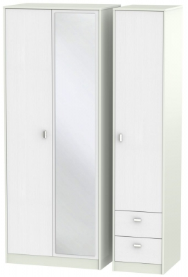 Dubai Rustic White and Kaschmir Matt 3 Door 2 Right Drawer Tall Mirror Triple Wardrobe