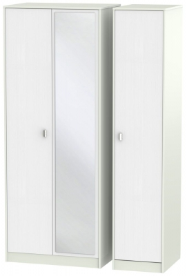 Dubai Rustic White and Kaschmir Matt 3 Door Tall Mirror Triple Wardrobe