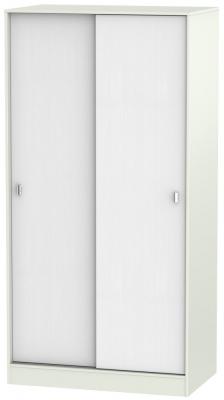 Dubai Rustic White and Kaschmir Matt 2 Door Wide Sliding Wardrobe
