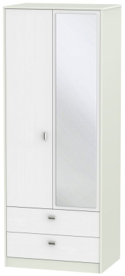 Dubai Rustic White and Kaschmir Matt 2 Door 2 Drawer Tall Mirror Double Wardrobe