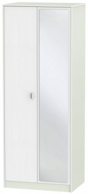 Dubai Rustic White and Kaschmir Matt 2 Door Tall Mirror Double Wardrobe