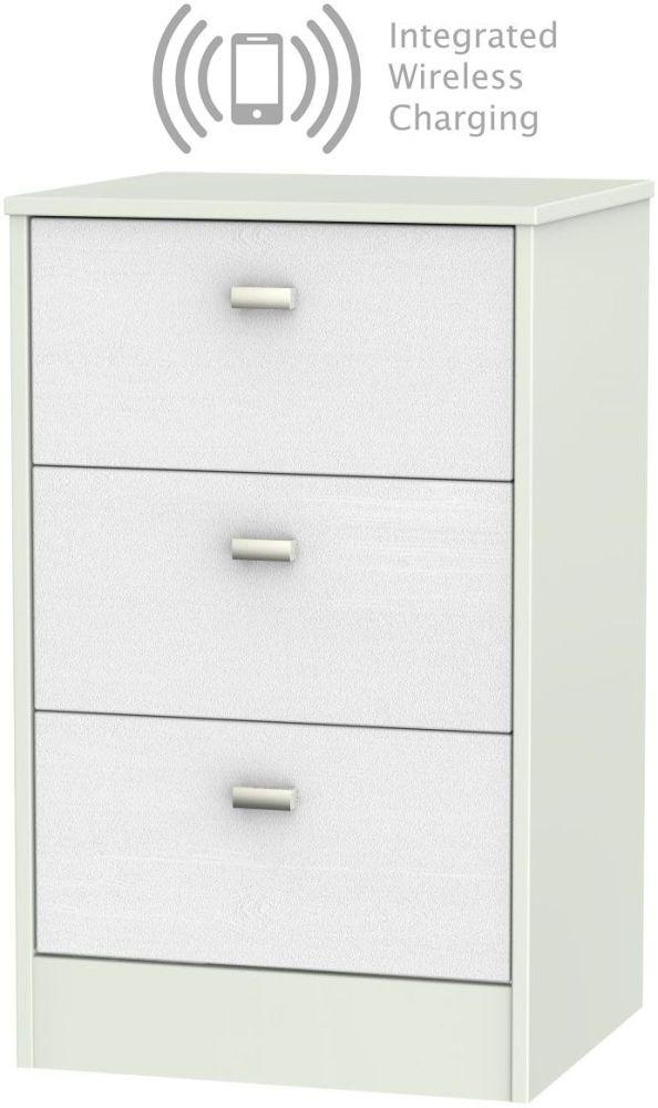 Dubai Rustic White and Kaschmir Matt 3 Drawer Locker Bedside Cabinet with Integrated Wireless Charging