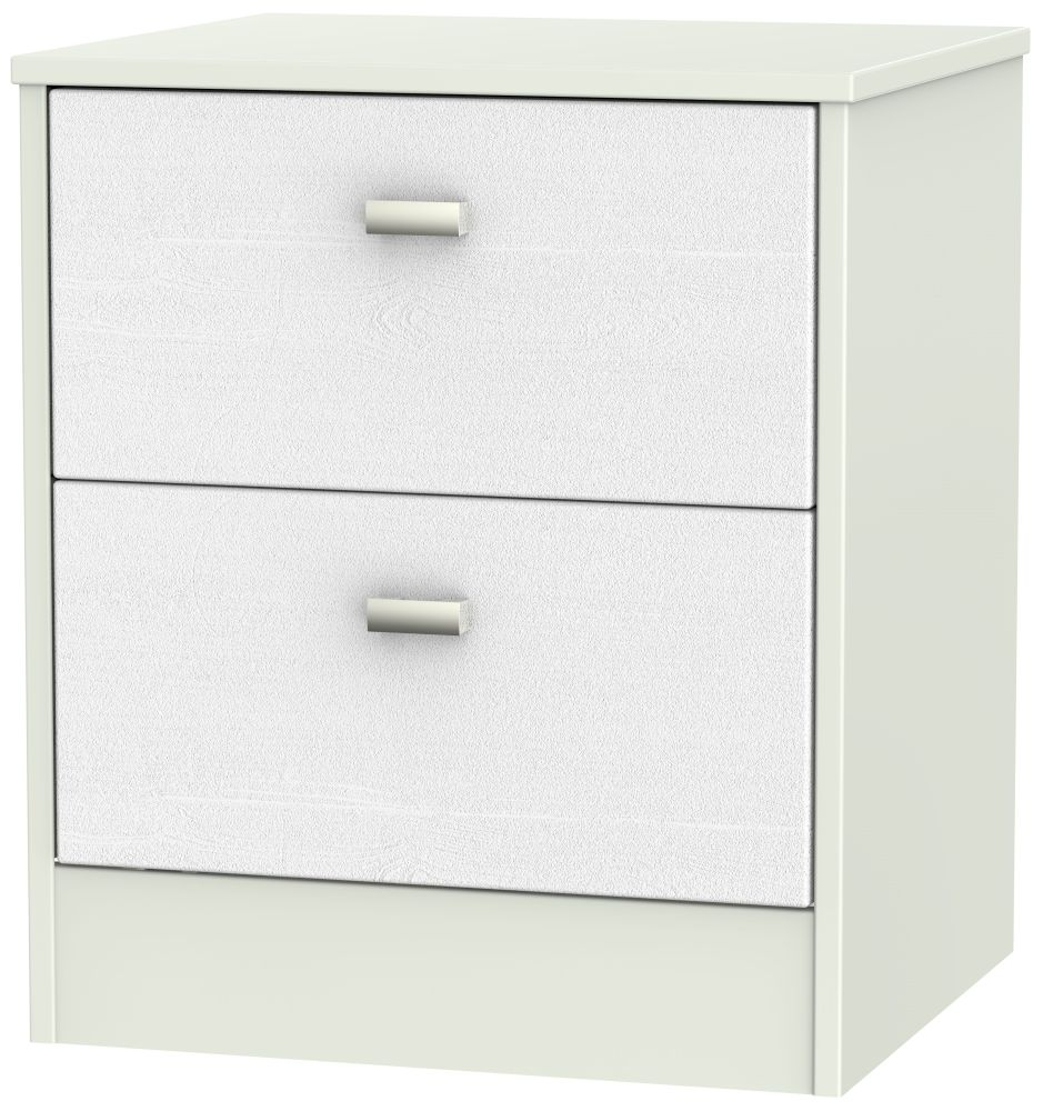 Dubai Rustic White and Kaschmir Matt Bedside Cabinet - 2 Drawer Locker