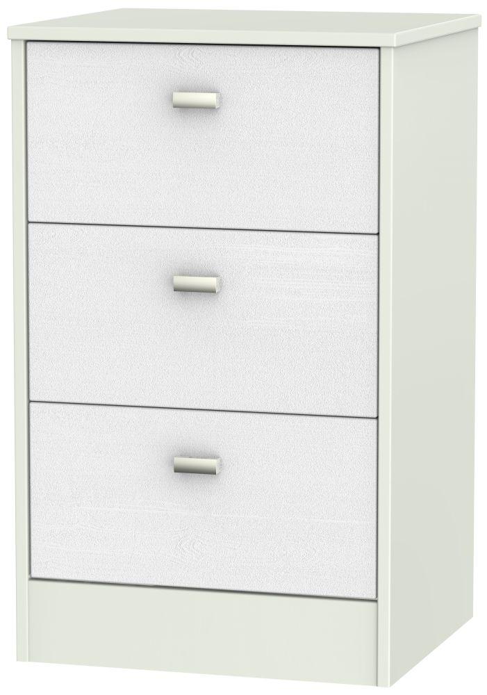 Dubai Rustic White and Kaschmir Matt 3 Drawer Locker Bedside Cabinet