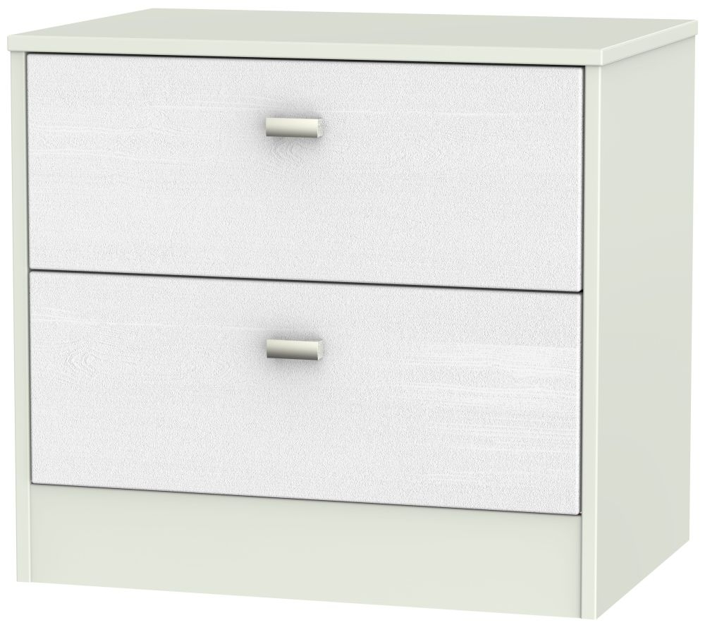 Dubai Rustic White and Kaschmir Matt Chest of Drawer - 2 Drawer Midi