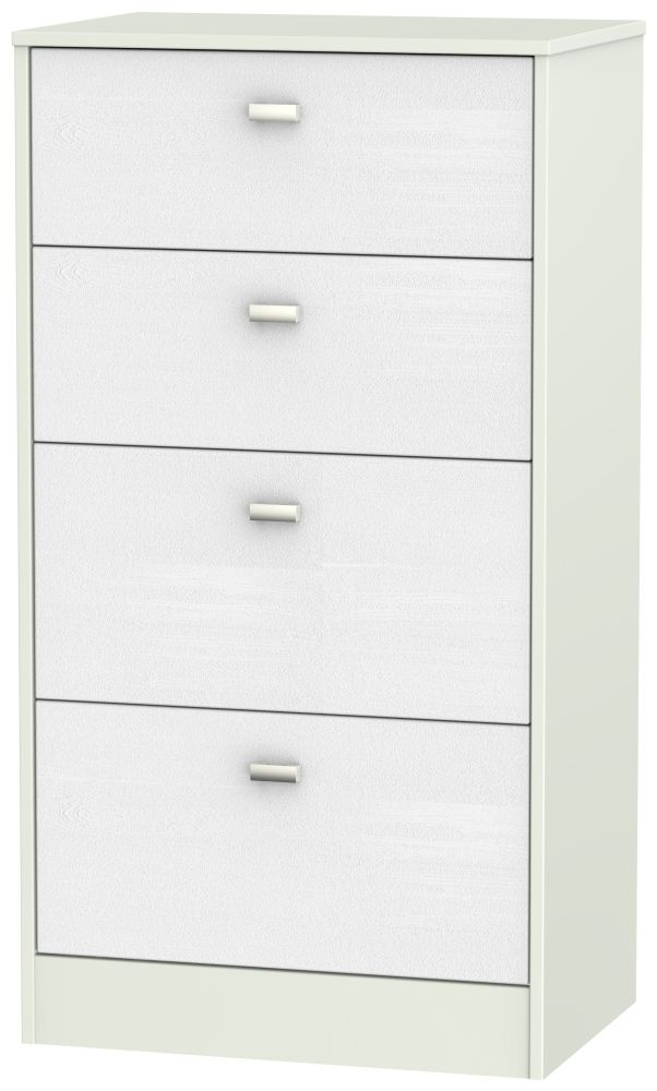 Dubai Rustic White and Kaschmir Matt 4 Drawer Midi Chest