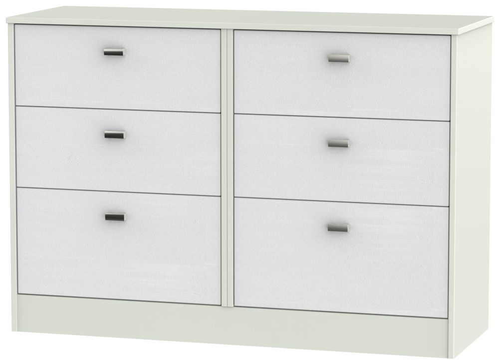 Dubai Rustic White and Kaschmir Matt 6 Drawer Midi Chest