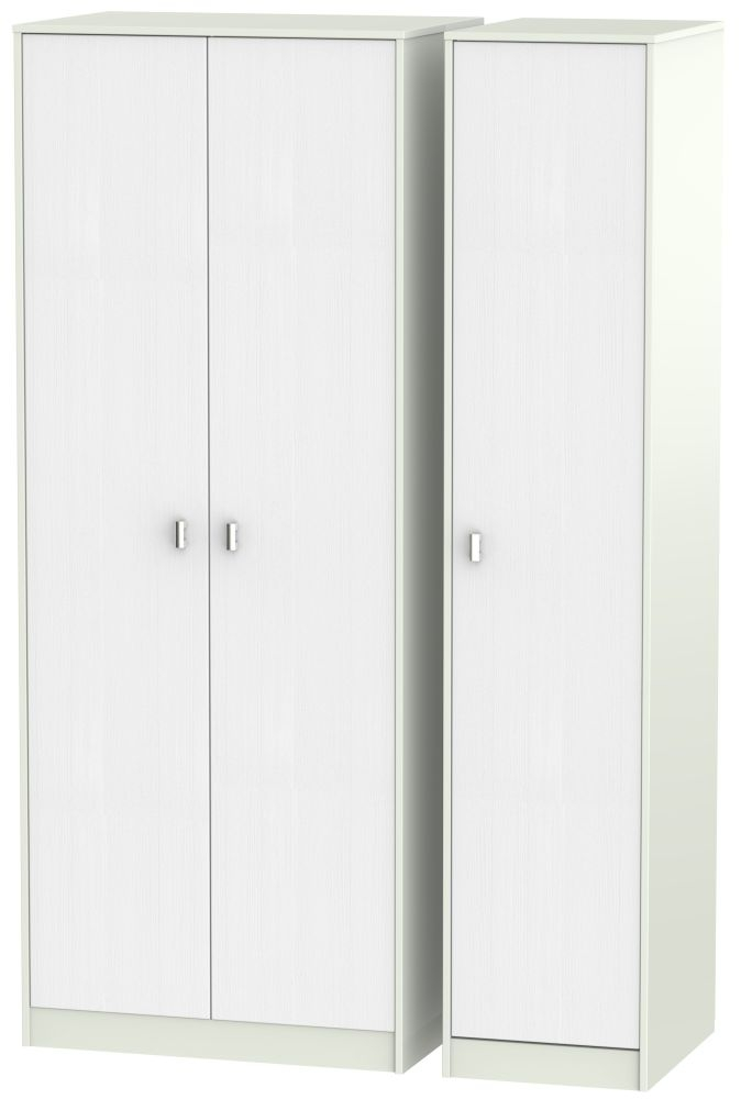 Dubai Rustic White and Kaschmir Matt 3 Door Tall Plain Triple Wardrobe