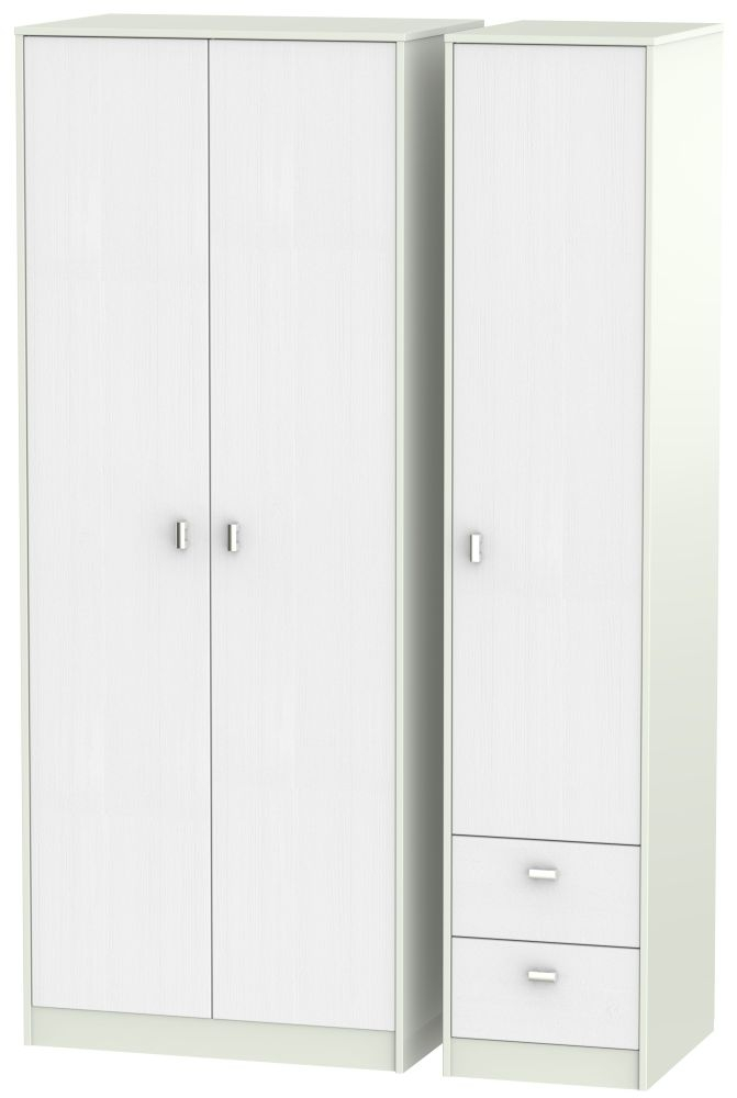 Dubai Rustic White and Kaschmir Matt 3 Door 2 Drawer Tall Triple Wardrobe