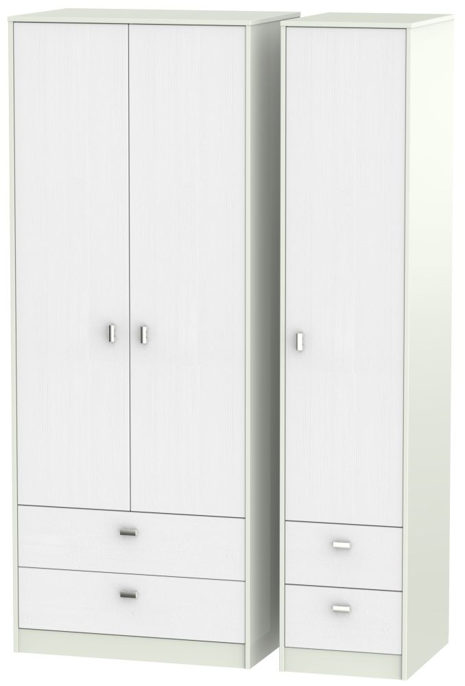 Dubai Rustic White and Kaschmir Matt 3 Door 4 Drawer Tall Triple Wardrobe