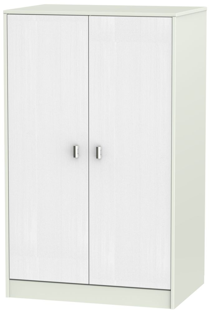 Dubai Rustic White and Kaschmir Matt 2 Door Plain Midi Wardrobe