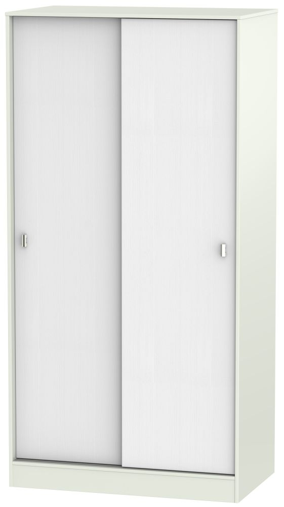 Dubai Rustic White and Kaschmir Matt Sliding Wardrobe - 100cm Wide