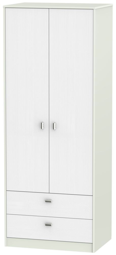 Dubai Rustic White and Kaschmir Matt 2 Door 2 Drawer Tall Double Wardrobe