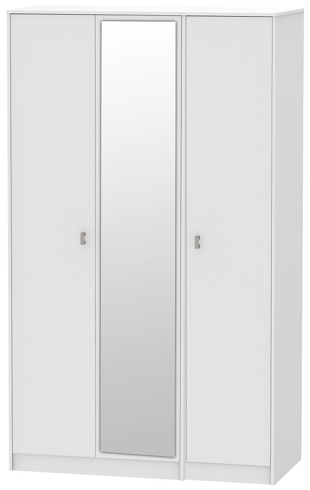 Dubai 3 Door Mirror Wardrobe - Rustic White and White