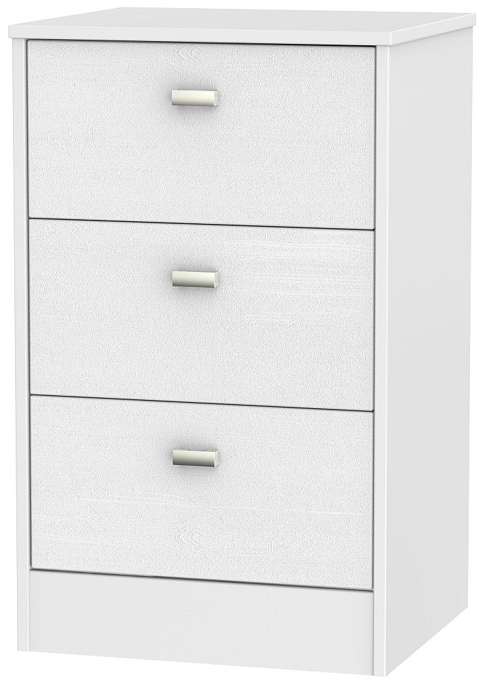 Dubai 3 Drawer Bedside Cabinet - Rustic White and White