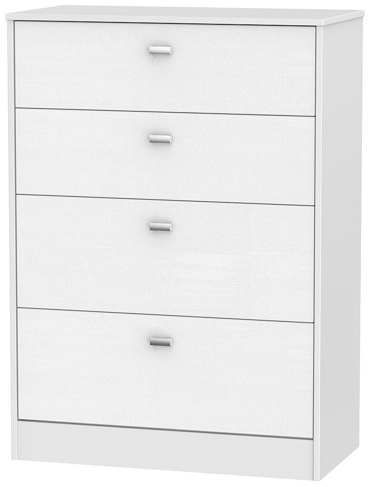 Dubai 4 Drawer Deep Chest - Rustic White and White