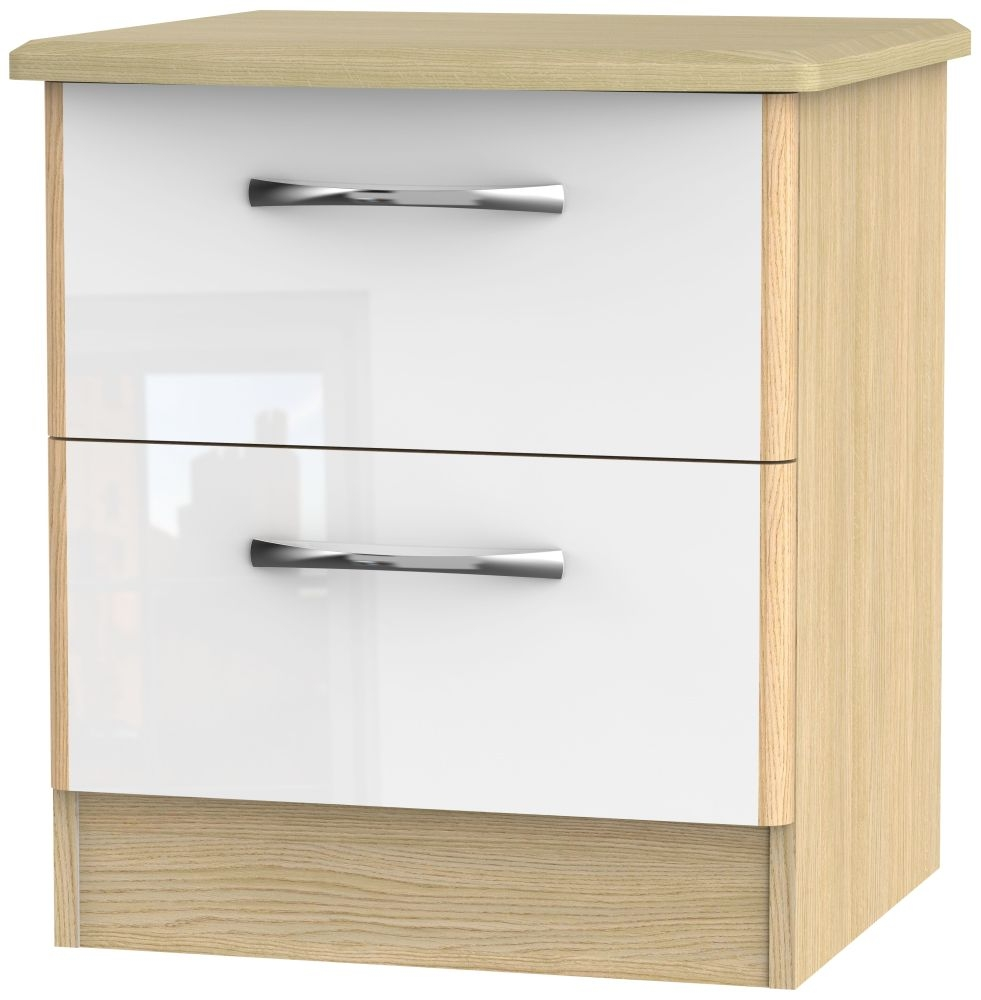 Ha Long Bay High Gloss White and Light Oak Bedside Cabinet - 2 Drawer Locker