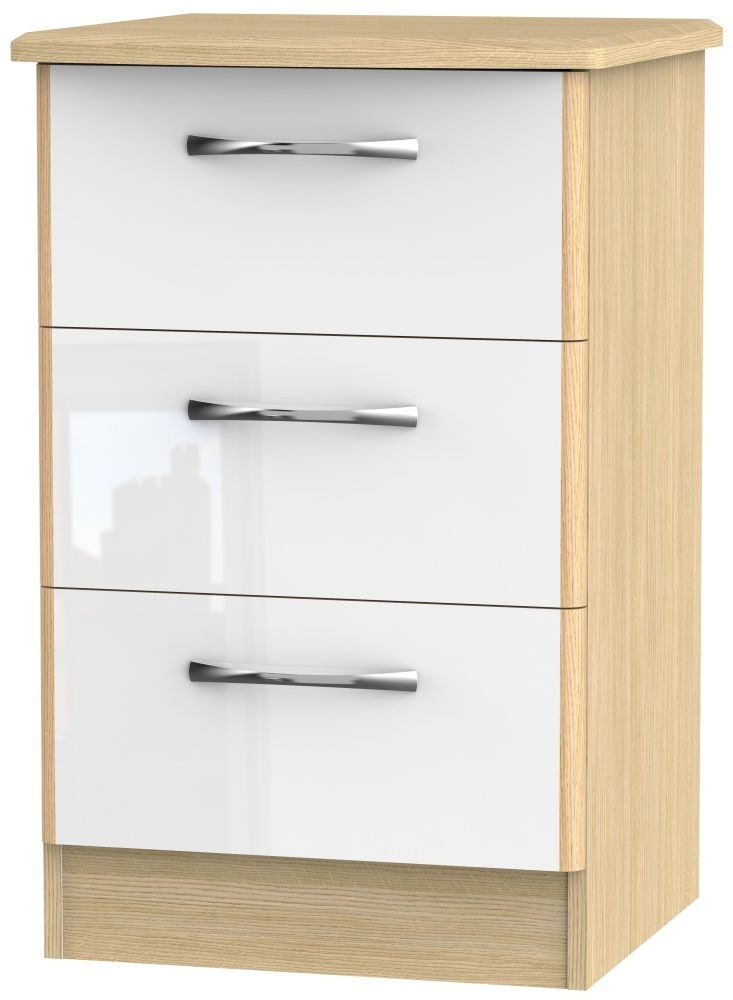 Ha Long Bay High Gloss White and Light Oak 3 Drawer Locker Bedside Cabinet