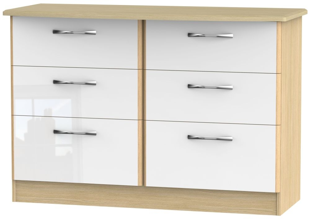 Ha Long Bay High Gloss White and Light Oak 6 Drawer Midi Chest