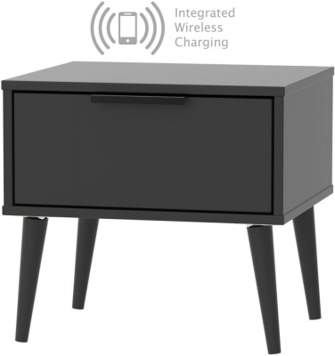 Hong Kong Black 1 Drawer Bedside Cabinet with Wooden Legs and Integrated Wireless Charging