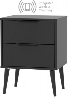 Hong Kong Black 2 Drawer Bedside Cabinet with Wooden Legs and Integrated Wireless Charging