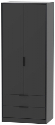 Hong Kong Black 2 Door 2 Drawer Wardrobe