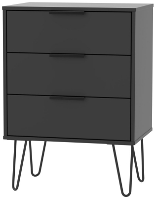 Hong Kong Black 3 Drawer Midi Chest with Hairpin Legs