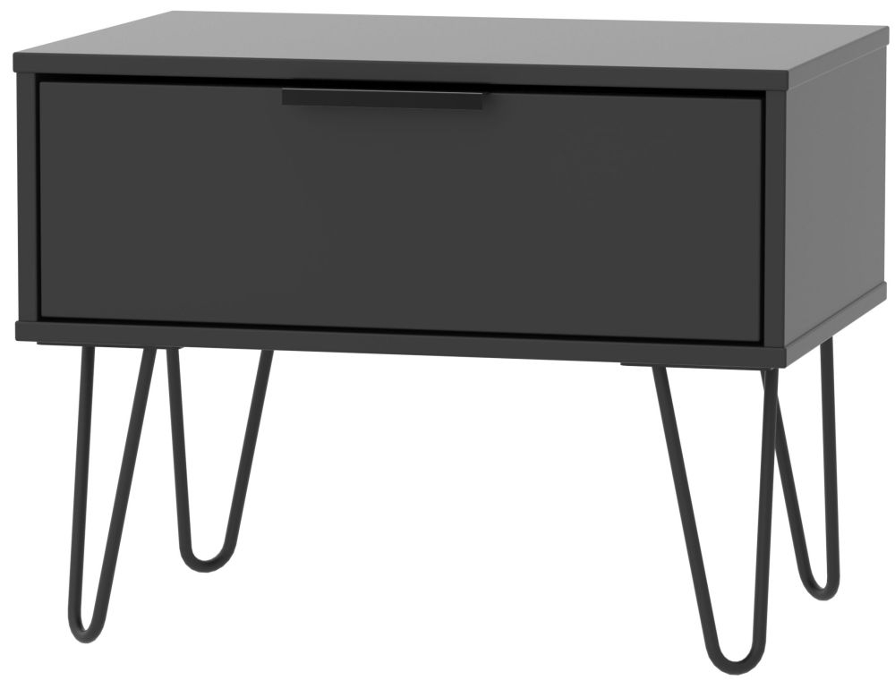 Hong Kong Black 1 Drawer Midi Chest with Hairpin Legs