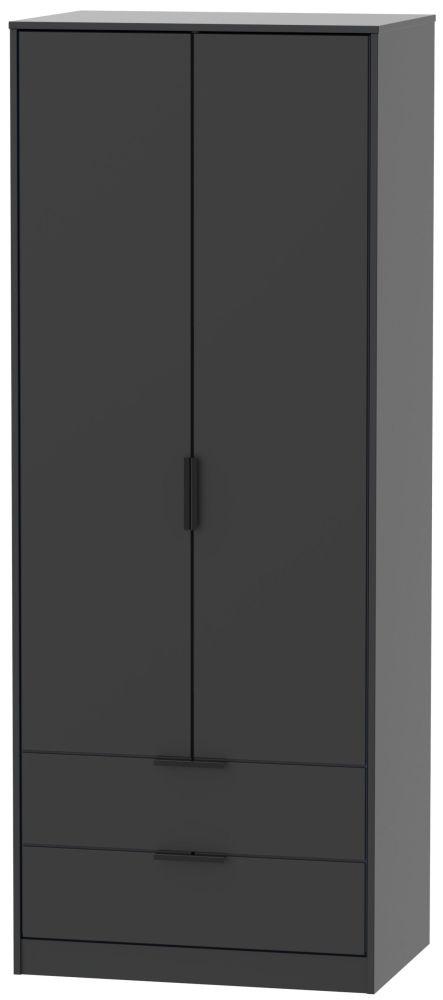 Hong Kong Black 2 Door 2 Drawer Wardrobe