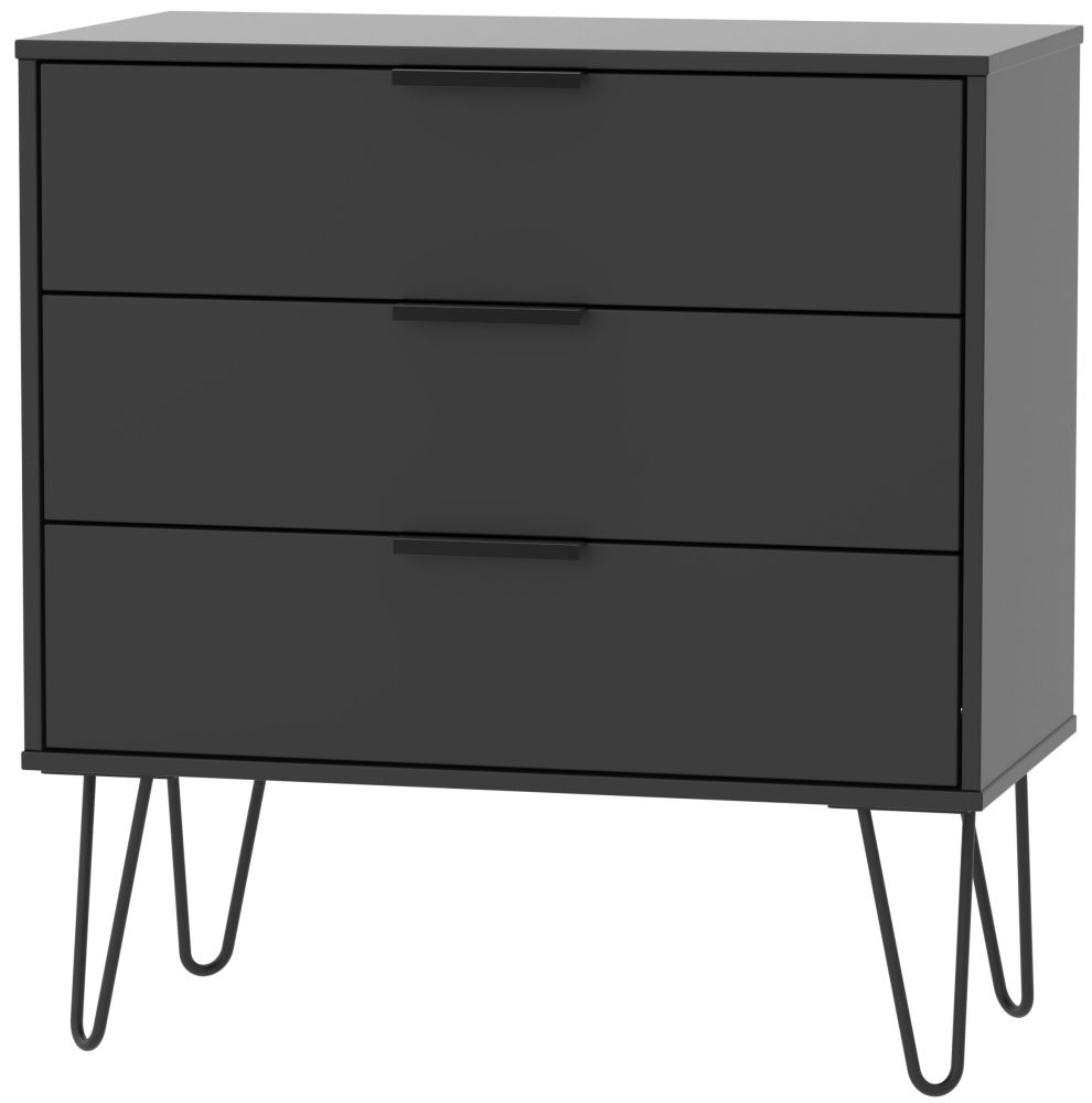 Hong Kong Black 3 Drawer Chest with Hairpin Legs