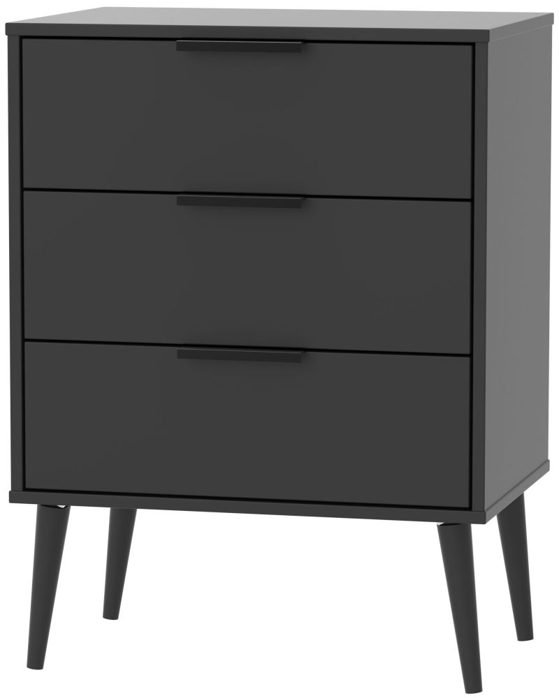 Hong Kong Black 3 Drawer Midi Chest with Wooden Legs