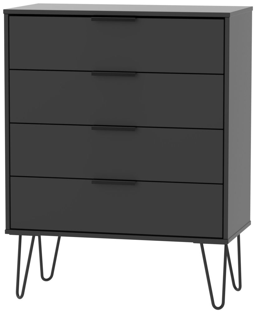 Hong Kong Black 4 Drawer Chest with Hairpin Legs