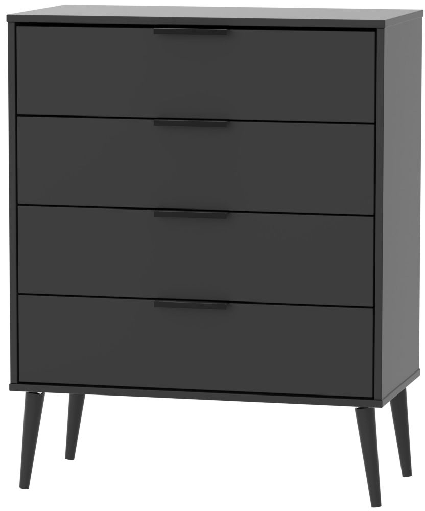 Hong Kong 4 Drawer Chest with Wooden Legs - Black Matt