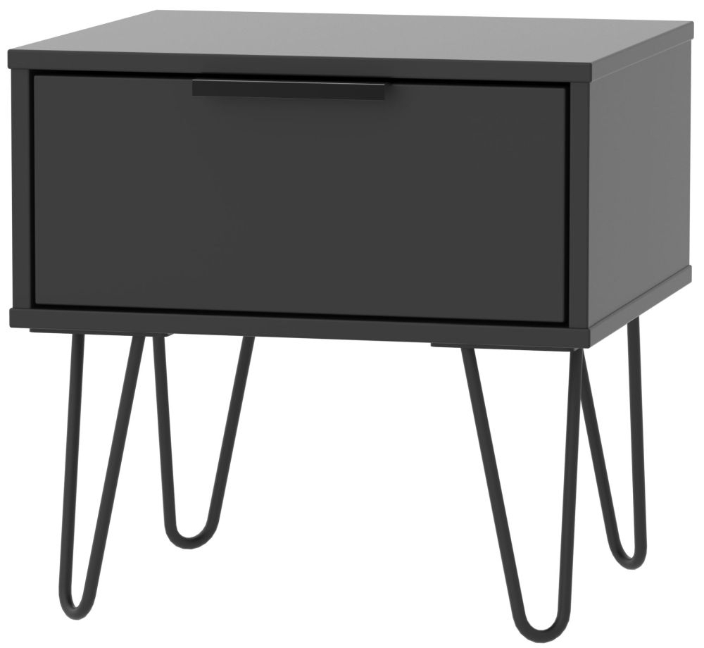 Hong Kong Black 1 Drawer Bedside Cabinet with Hairpin Legs