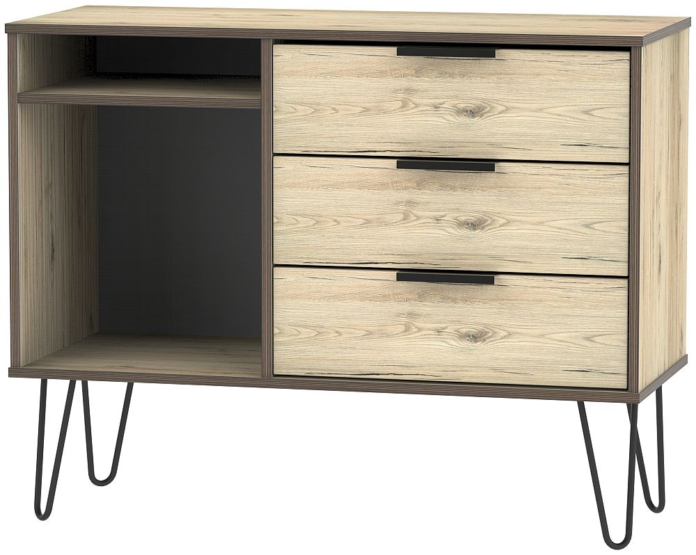 Hong Kong Bordeaux Oak 3 Drawer TV Unit with Hairpin Legs