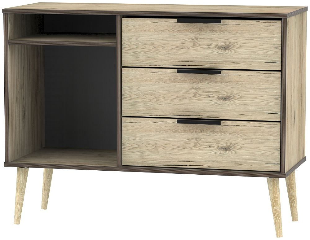 Hong Kong Bordeaux Oak 3 Drawer TV Unit with Wooden Legs