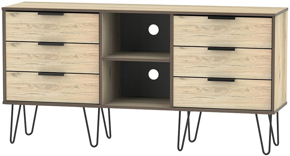 Hong Kong Bordeaux Oak 6 Drawer TV Unit with Hairpin Legs