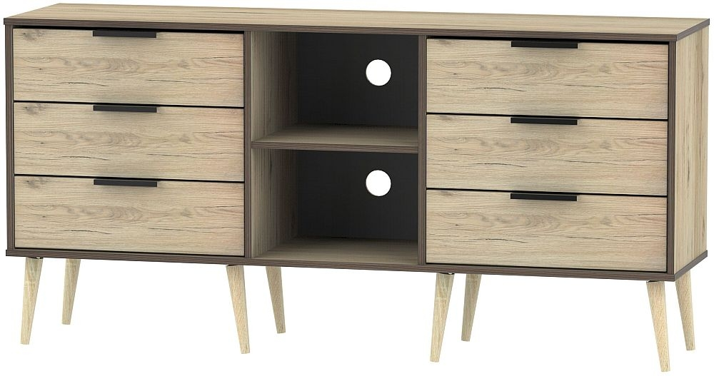 Hong Kong Bordeaux Oak 6 Drawer TV Unit with Wooden Legs