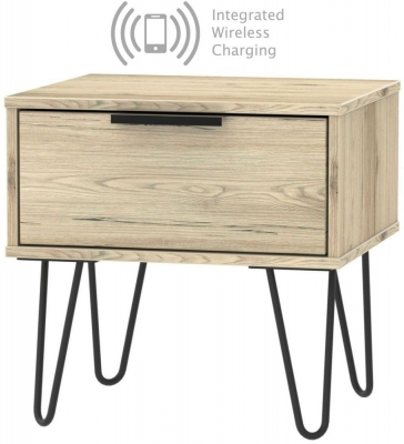 Hong Kong Bordeaux Oak 1 Drawer Bedside Cabinet with Hairpin Legs and Integrated Wireless Charging