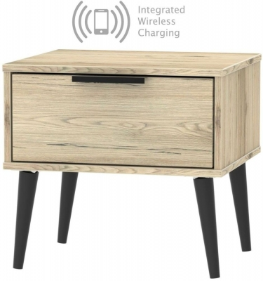 Hong Kong Bordeaux Oak 1 Drawer Bedside Cabinet with Wooden Legs and Integrated Wireless Charging