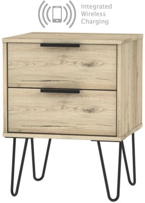 Hong Kong Bordeaux Oak 2 Drawer Bedside Cabinet with Hairpin Legs and Integrated Wireless Charging
