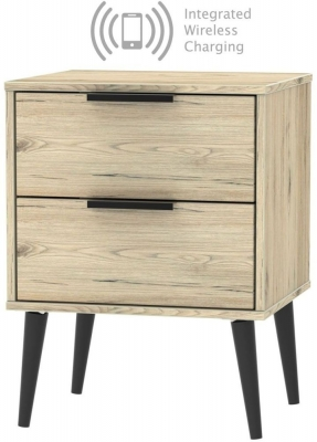 Hong Kong Bordeaux Oak 2 Drawer Bedside Cabinet with Wooden Legs and Integrated Wireless Charging