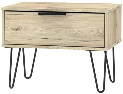 Hong Kong Bordeaux Oak 1 Drawer Midi Chest with Hairpin Legs