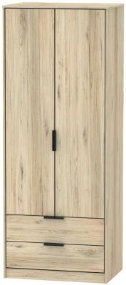 Hong Kong Bordeaux Oak 2 Door 2 Drawer Wardrobe