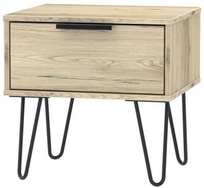 Hong Kong Bordeaux Oak 1 Drawer Bedside Cabinet with Hairpin Legs