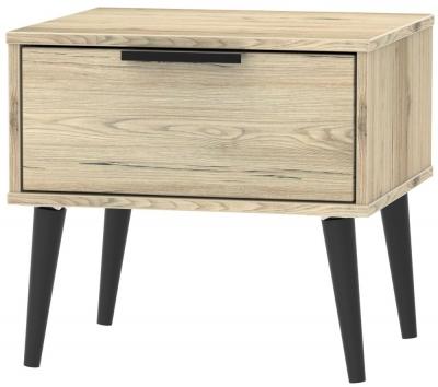Hong Kong Bordeaux Oak 1 Drawer Bedside Cabinet with Wooden Legs