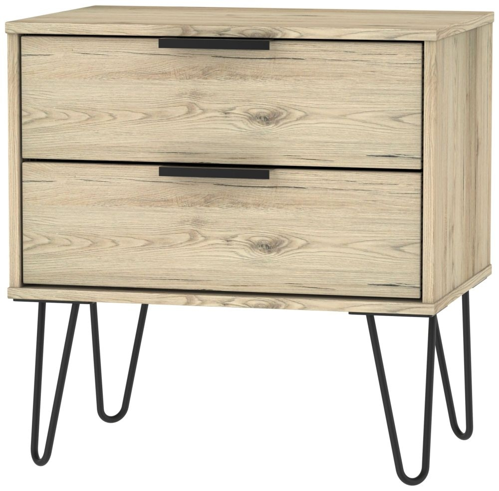Hong Kong Bordeaux Oak 2 Drawer Midi Chest with Hairpin Legs