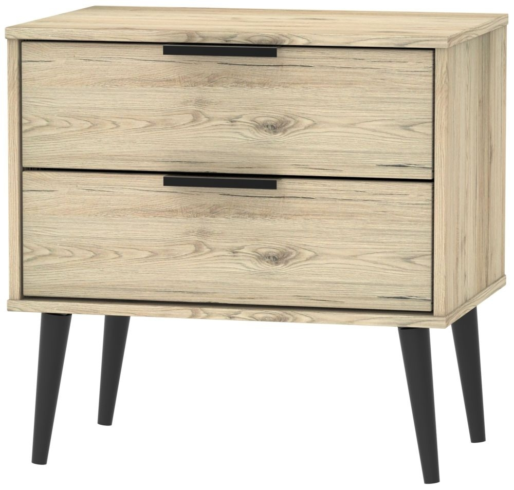 Hong Kong Bordeaux Oak 2 Drawer Midi Chest with Wooden Legs
